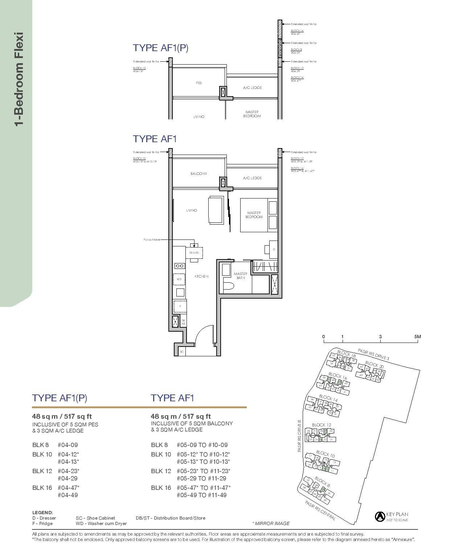 Pasir Ris 8 Floor plans 1 Bedroom 1