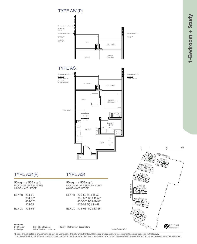 Pasir Ris 8 Floor plans 1 Bedroom 2