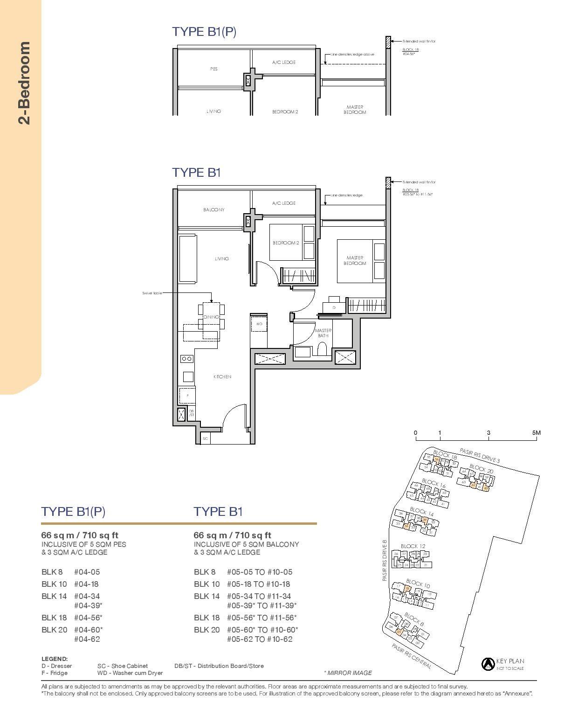 Pasir Ris 8 Floor plans 2 Bedroom 1