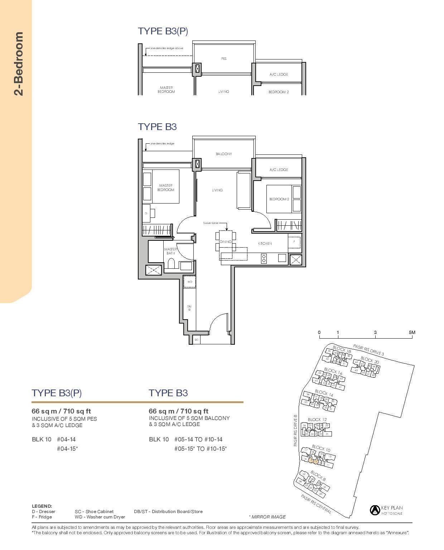 Pasir Ris 8 Floor plans 2 Bedroom 3
