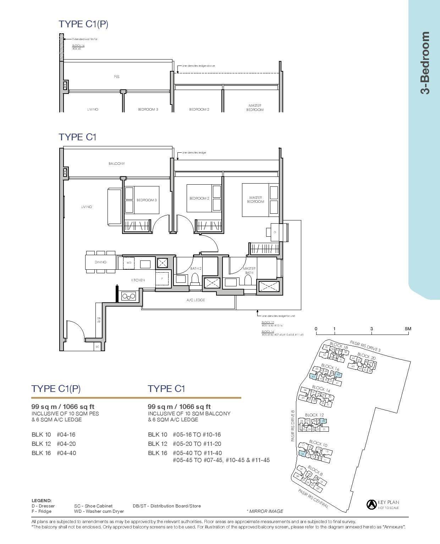 Pasir Ris 8 Floor plans 3 Bedroom 1