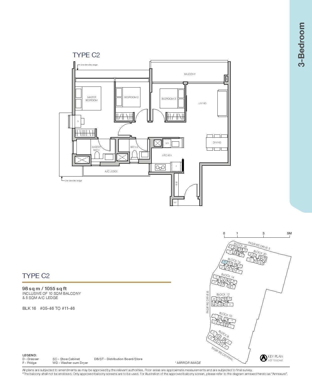 Pasir Ris 8 Floor plans 3 Bedroom 3