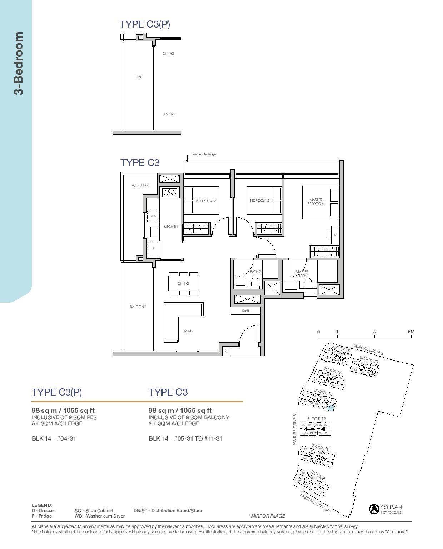 Pasir Ris 8 Floor plans 3 Bedroom 4