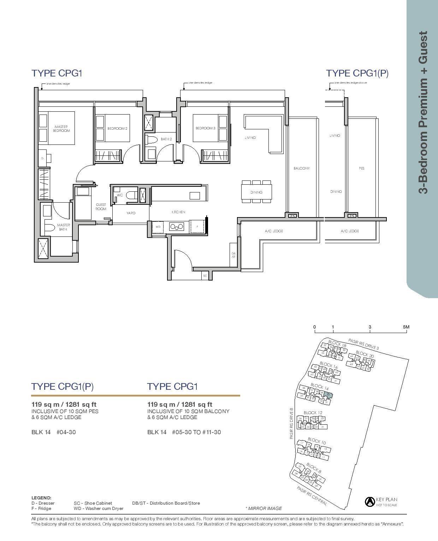 Pasir Ris 8 Floor plans 3 Bedroom 5
