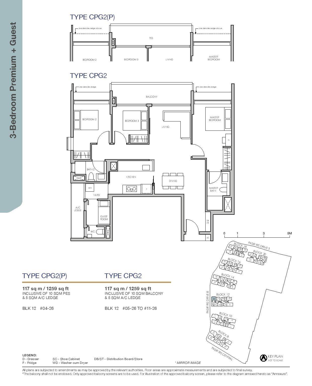 Pasir Ris 8 Floor plans 3 Bedroom 6