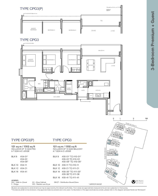 Pasir Ris 8 Floor plans 3 Bedroom 7
